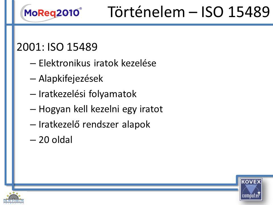 Történelem - MoReq 2001 DLM Forum és az Európai Bizottság – Elektronikus iratok kezelése – Univerzális – Több nyelven elérhető – De facto szabvány – Sablon követelmények, amelyek aztán később módosíthatóak az igények szerint – Tartalmazza, hogyan kell fejezeteket hozzáadni, szerkeszteni, törölni – 128 oldal