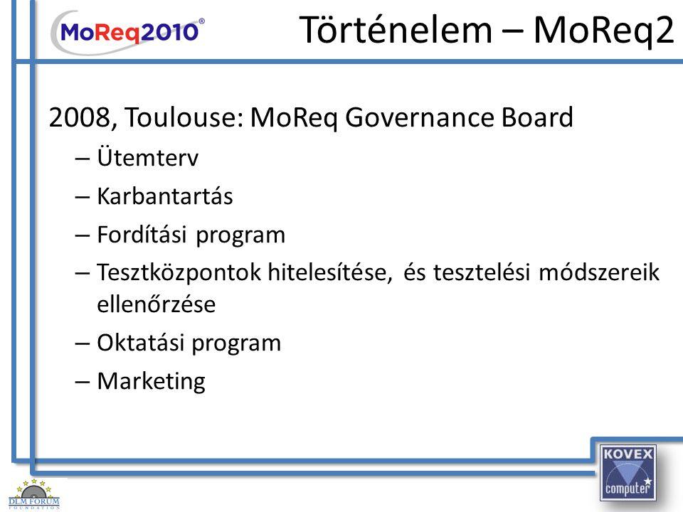 Történelem – MoReq2 2008, Toulouse: MoReq Governance Board – Ütemterv – Karbantartás – Fordítási program – Tesztközpontok hitelesítése, és tesztelési