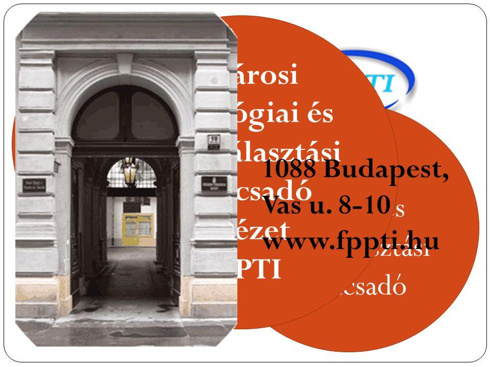 F ő városi Pedagógiai Intézet F ő városi Ifjúsági és Pályaválasztási Tanácsadó F ő városi Pedagógiai és Pályaválasztási Tanácsadó Intézet FPPTI 1088 Budapest, Vas u.
