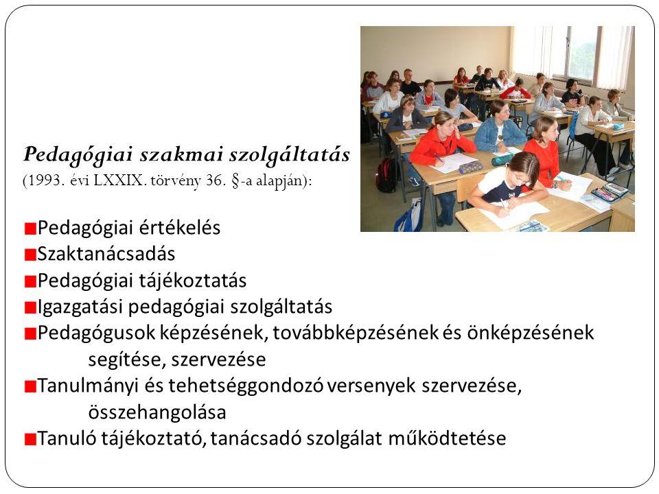 Pedagógiai szakmai szolgáltatás (1993.évi LXXIX. törvény 36.