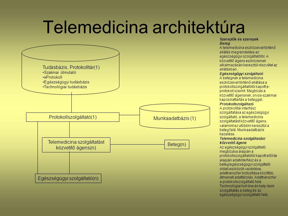 Telemedicina architektúra Szereplők és szerepek Beteg A telemedicina eszközeivel történő ellátás megrendelése az egészségügyi szolgáltatótól. A közvet