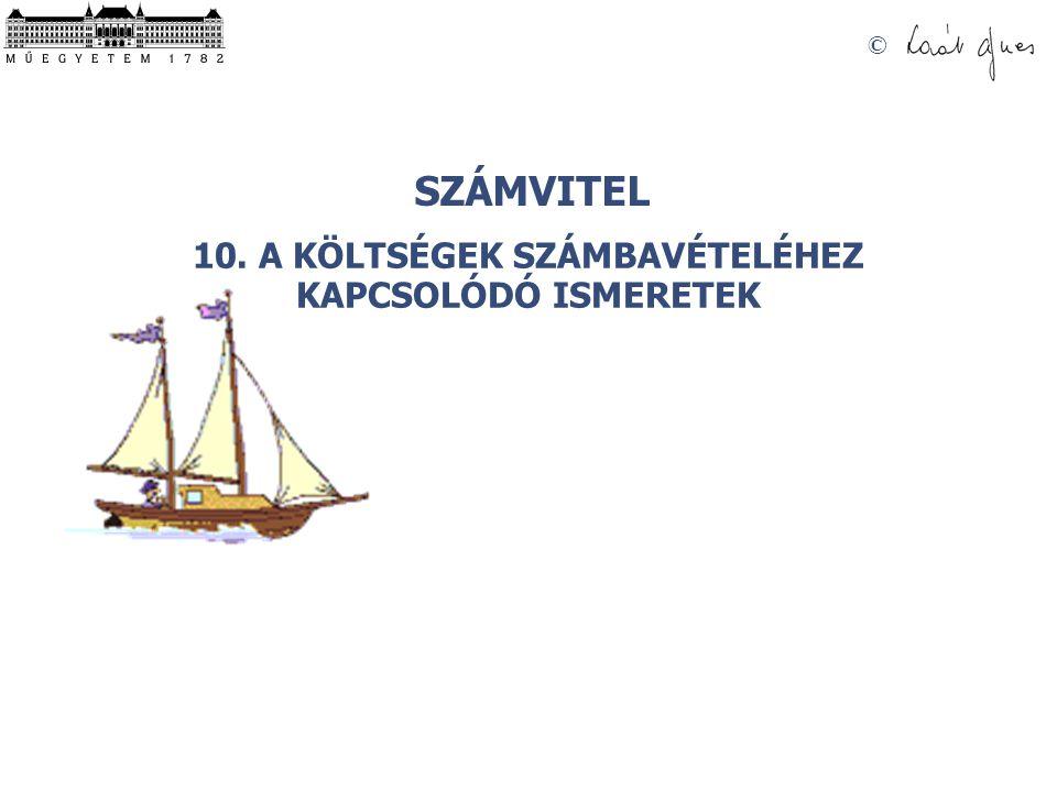 SZÁMVITEL © 10. A KÖLTSÉGEK SZÁMBAVÉTELÉHEZ KAPCSOLÓDÓ ISMERETEK