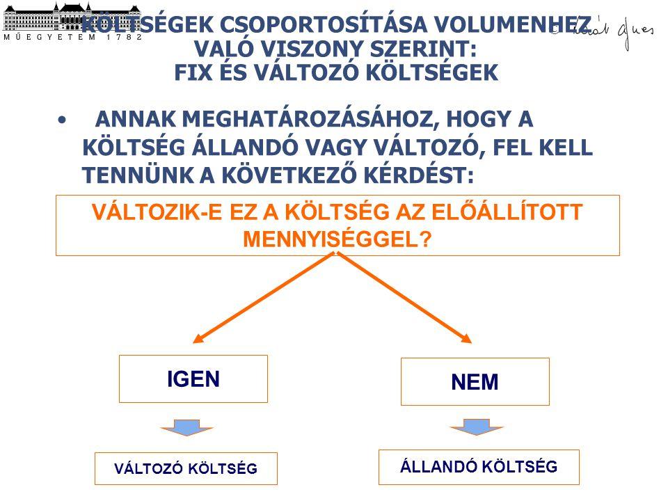 © VÁLTOZIK-E EZ A KÖLTSÉG AZ ELŐÁLLÍTOTT MENNYISÉGGEL.