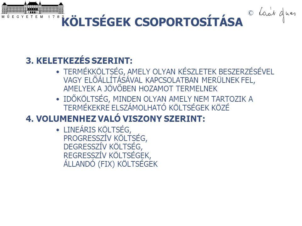 © KÖLTSÉGEK CSOPORTOSÍTÁSA 3.