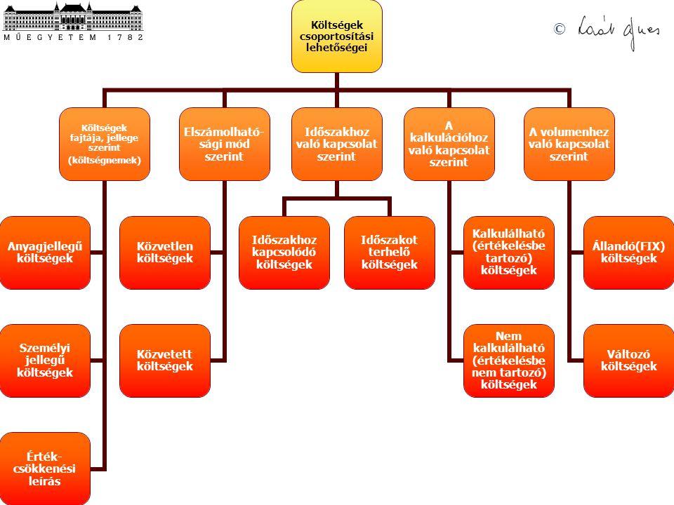 © Költségek csoportosítási lehetőségei Költségek fajtája, jellege szerint (költségnemek) Anyagjellegű költségek Személyi jellegű költségek Érték-csökkenési leírás Elszámolható- sági mód szerint Közvetlen költségek Közvetett költségek Időszakhoz való kapcsolat szerint Időszakhoz kapcsolódó költségek Időszakot terhelő költségek A kalkulációhoz való kapcsolat szerint Kalkulálható (értékelésbe tartozó) költségek Nem kalkulálható (értékelésbe nem tartozó) költségek A volumenhez való kapcsolat szerint Állandó(FIX) költségek Változó költségek
