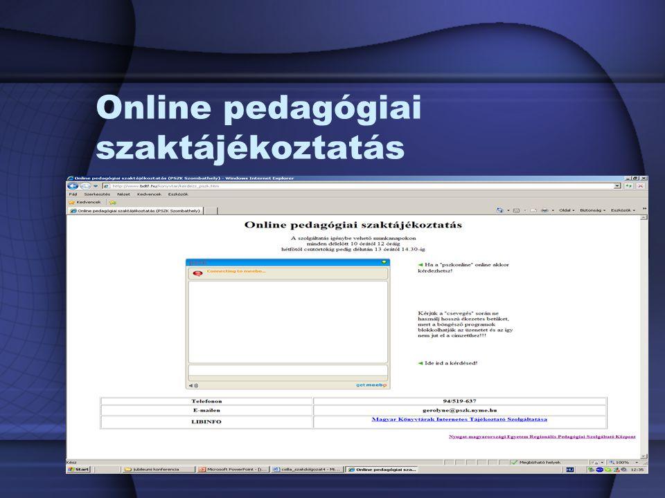 Online pedagógiai szaktájékoztatás