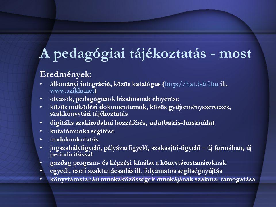 A pedagógiai tájékoztatás - most Eredmények: állományi integráció, közös katalógus (http://hat.bdtf.hu ill. www.szikla.net)http://hat.bdtf.hu www.szik