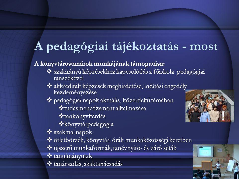 A pedagógiai tájékoztatás - most A könyvtárostanárok munkájának támogatása:  szakirányú képzésekhez kapcsolódás a főiskola pedagógiai tanszékével  akkreditált képzések meghirdetése, indítási engedély kezdeményezése  pedagógiai napok aktuális, közérdekű témában  tudásmenedzsment alkalmazása  tankönyvkérdés  könyvtárpedagógia  szakmai napok  ötletbörzék, könyvtári órák munkaközösségi keretben  újszerű munkaformák, tanévnyitó- és záró séták  tanulmányutak  tanácsadás, szaktanácsadás