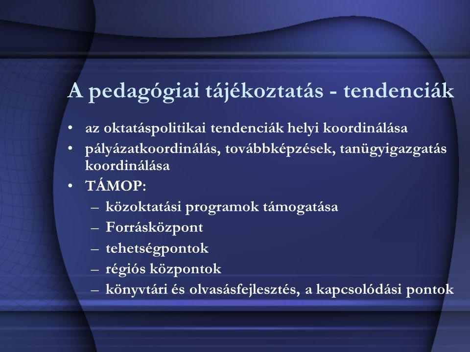A pedagógiai tájékoztatás - tendenciák az oktatáspolitikai tendenciák helyi koordinálása pályázatkoordinálás, továbbképzések, tanügyigazgatás koordiná
