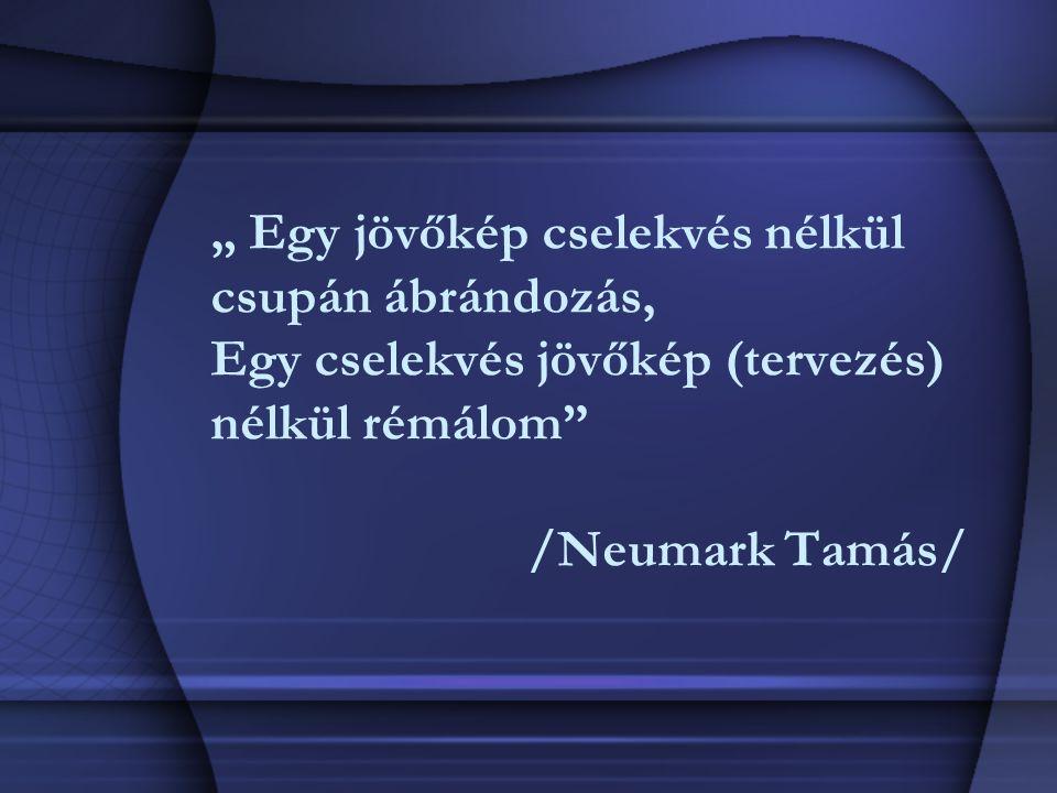 """"""" Egy jövőkép cselekvés nélkül csupán ábrándozás, Egy cselekvés jövőkép (tervezés) nélkül rémálom"""" /Neumark Tamás/"""