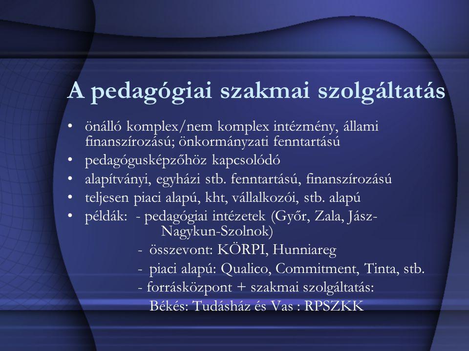 A pedagógiai szakmai szolgáltatás önálló komplex/nem komplex intézmény, állami finanszírozású; önkormányzati fenntartású pedagógusképzőhöz kapcsolódó