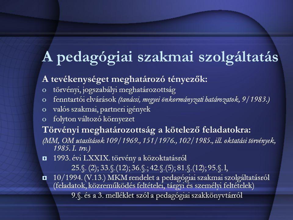 A pedagógiai szakmai szolgáltatás A tevékenységet meghatározó tényezők: otörvényi, jogszabályi meghatározottság ofenntartói elvárások (tanácsi, megyei
