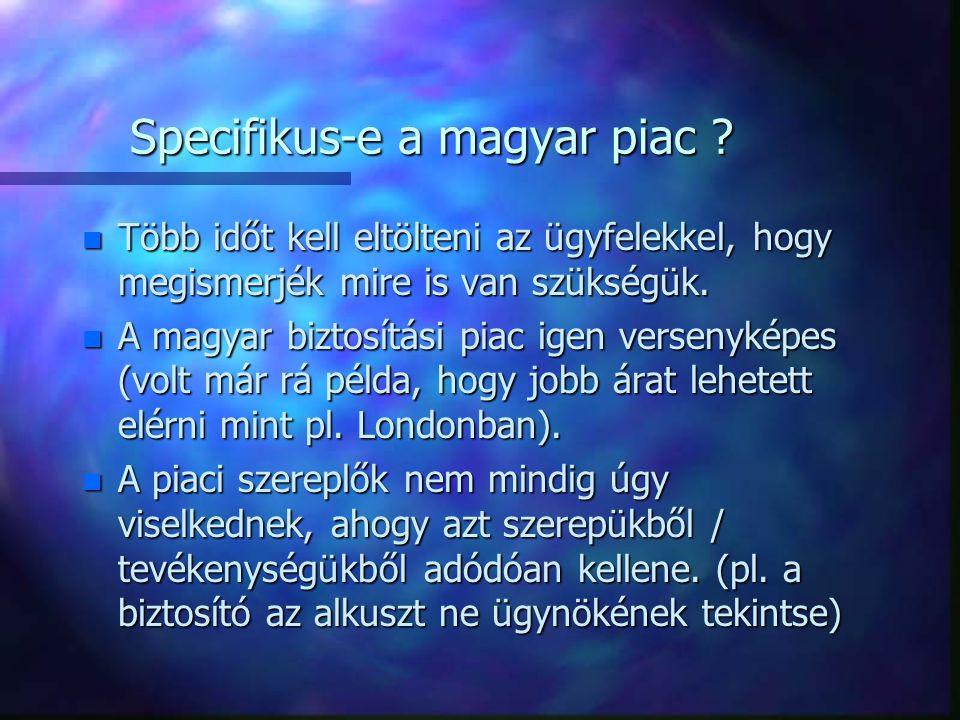 Specifikus-e a magyar piac ? n Több időt kell eltölteni az ügyfelekkel, hogy megismerjék mire is van szükségük. n A magyar biztosítási piac igen verse