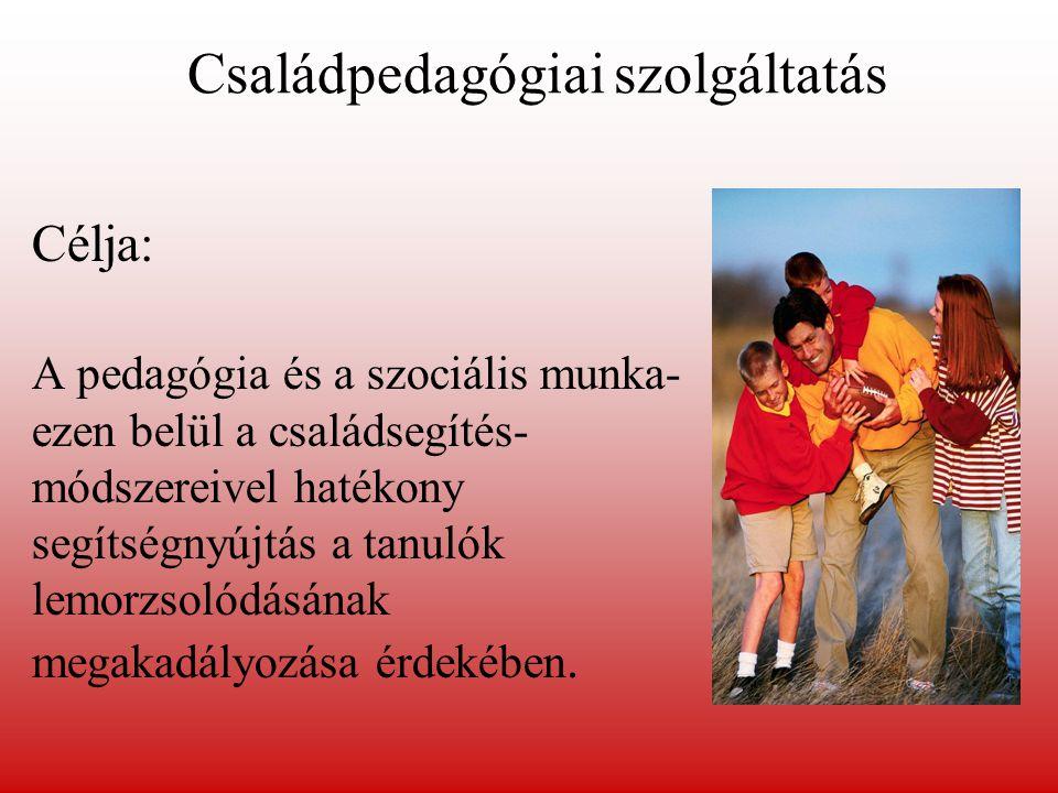 Célja: A pedagógia és a szociális munka- ezen belül a családsegítés- módszereivel hatékony segítségnyújtás a tanulók lemorzsolódásának megakadályozása