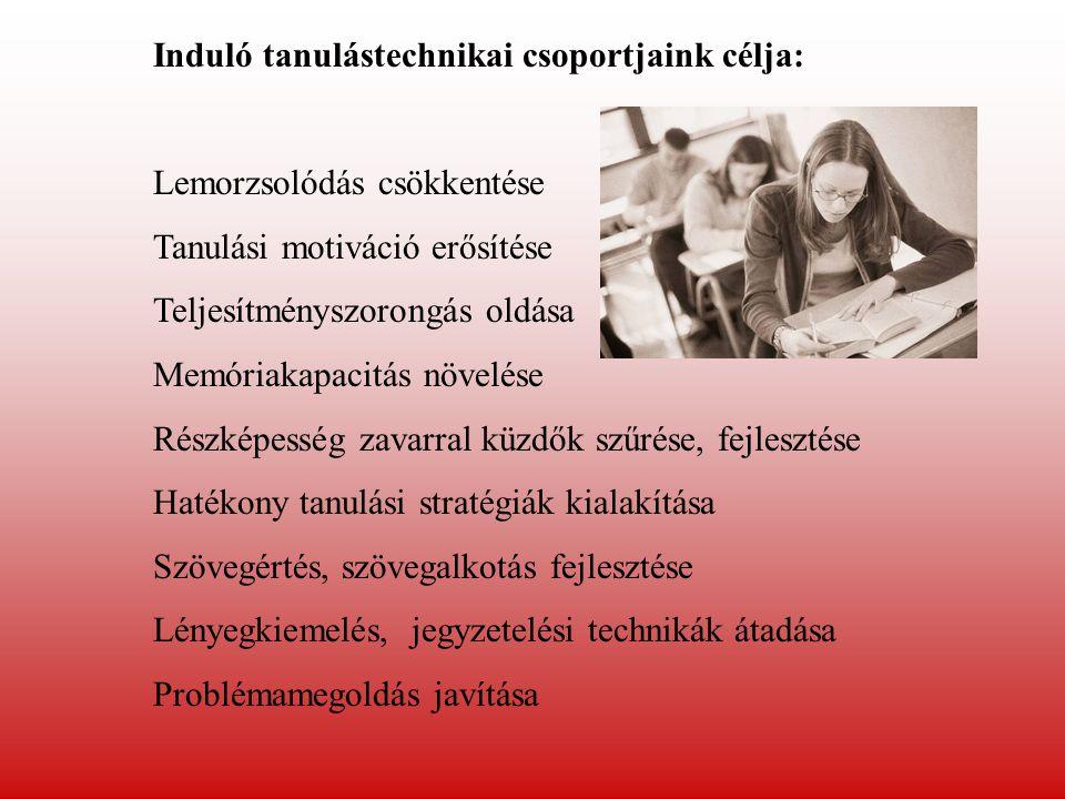 Induló tanulástechnikai csoportjaink célja: Lemorzsolódás csökkentése Tanulási motiváció erősítése Teljesítményszorongás oldása Memóriakapacitás növelése Részképesség zavarral küzdők szűrése, fejlesztése Hatékony tanulási stratégiák kialakítása Szövegértés, szövegalkotás fejlesztése Lényegkiemelés, jegyzetelési technikák átadása Problémamegoldás javítása