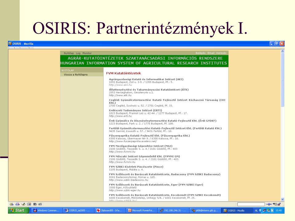 OSIRIS: Partnerintézmények I.