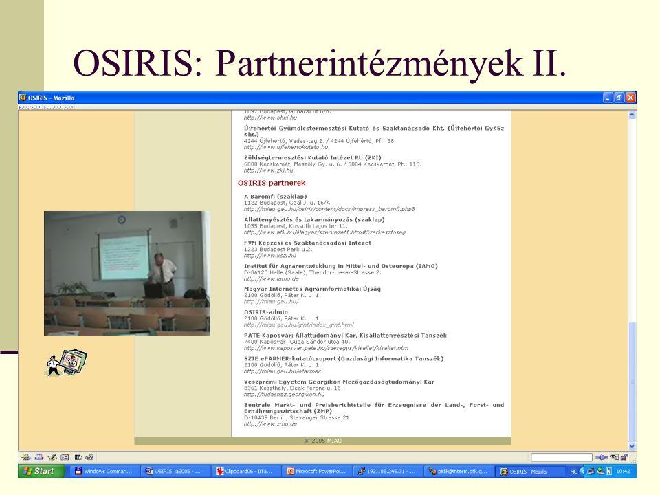 OSIRIS: Partnerintézmények II.