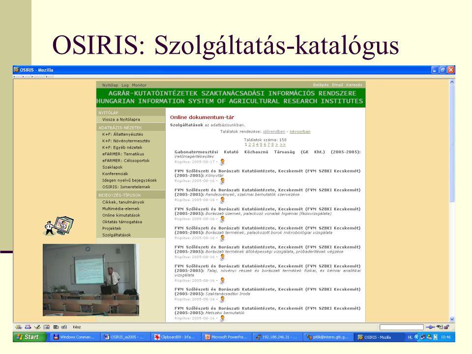 OSIRIS: Szolgáltatás-katalógus