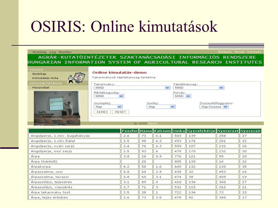 OSIRIS: Online kimutatások