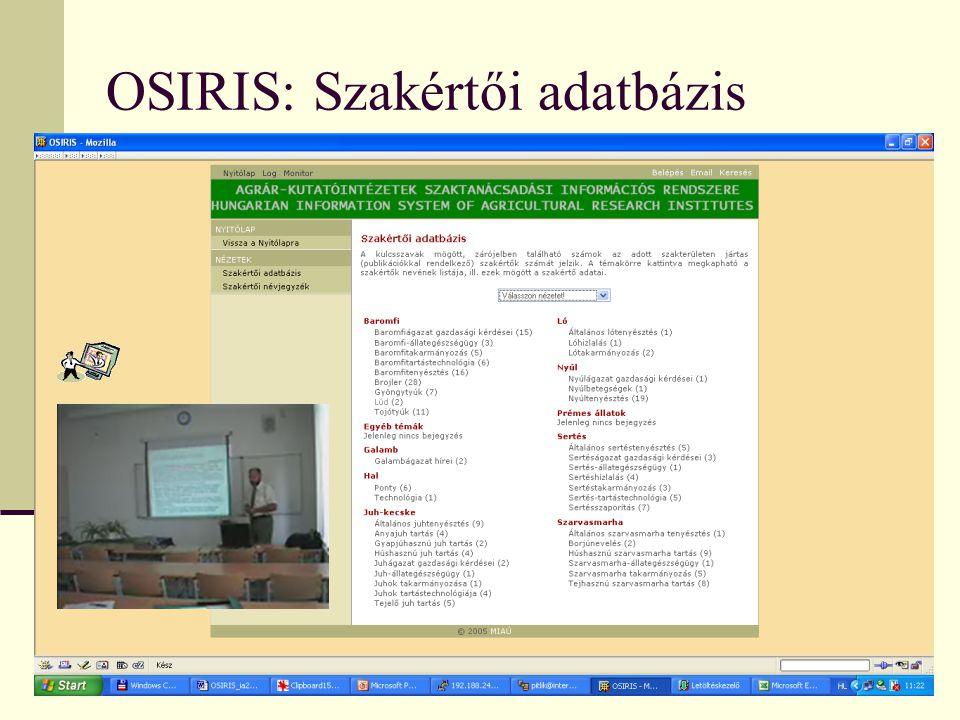 OSIRIS: Szakértői adatbázis