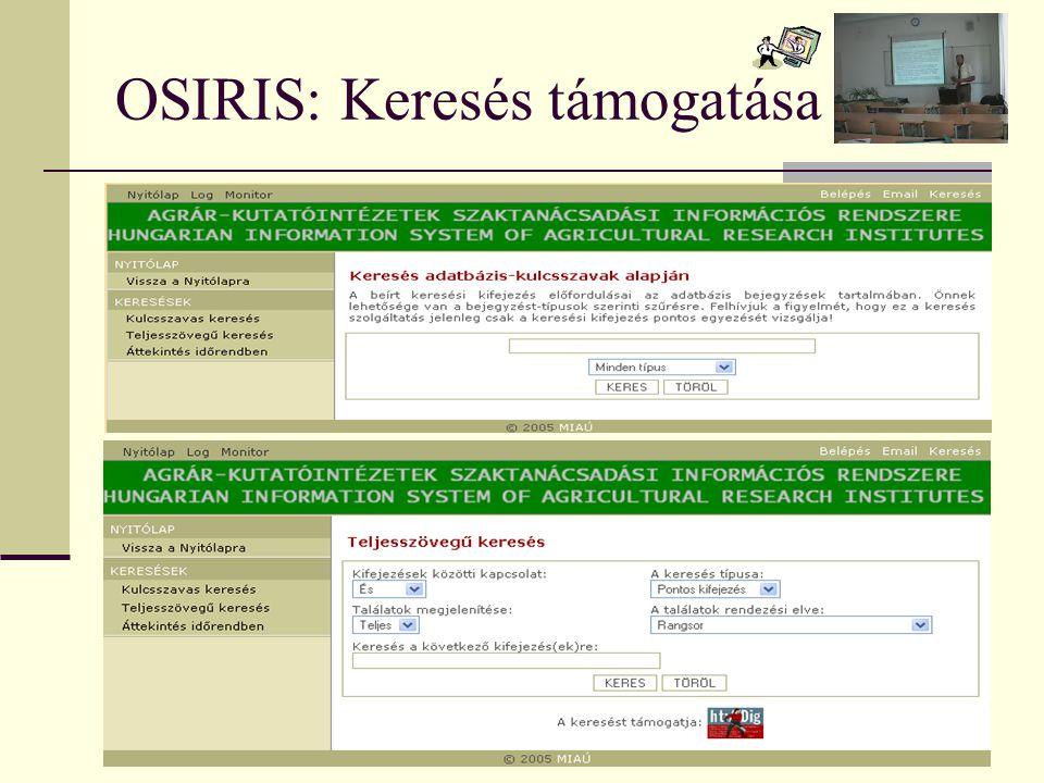 OSIRIS: Keresés támogatása