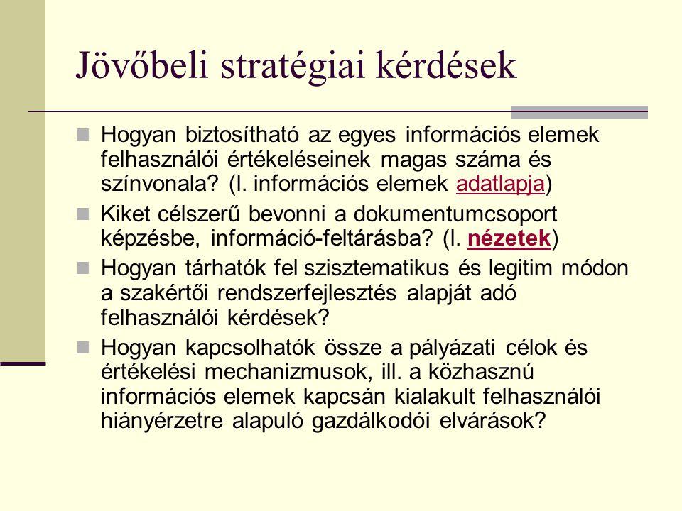 Jövőbeli stratégiai kérdések Hogyan biztosítható az egyes információs elemek felhasználói értékeléseinek magas száma és színvonala? (l. információs el