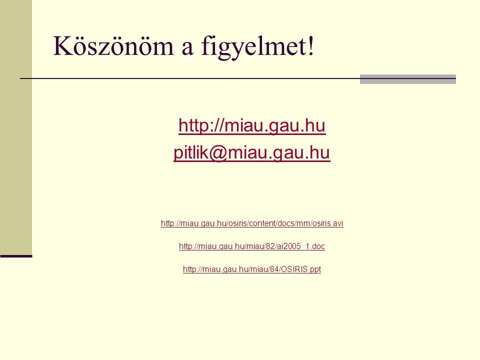 Köszönöm a figyelmet! http://miau.gau.hu pitlik@miau.gau.hu http://miau.gau.hu/osiris/content/docs/mm/osiris.avi http://miau.gau.hu/miau/82/ai2005_1.d