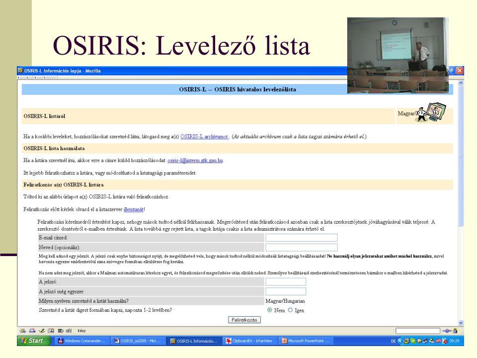 OSIRIS: Levelező lista
