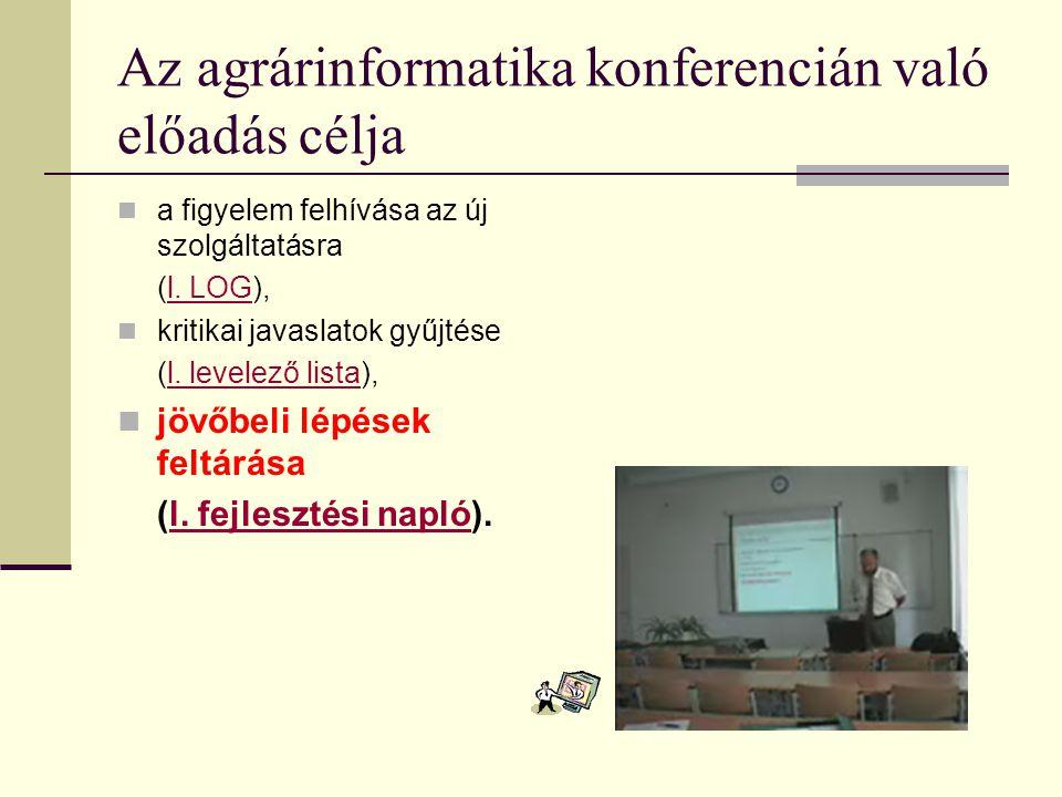 Az agrárinformatika konferencián való előadás célja a figyelem felhívása az új szolgáltatásra (l. LOG),l. LOG kritikai javaslatok gyűjtése (l. levelez