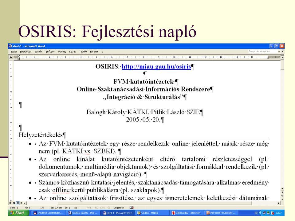 OSIRIS: Fejlesztési napló