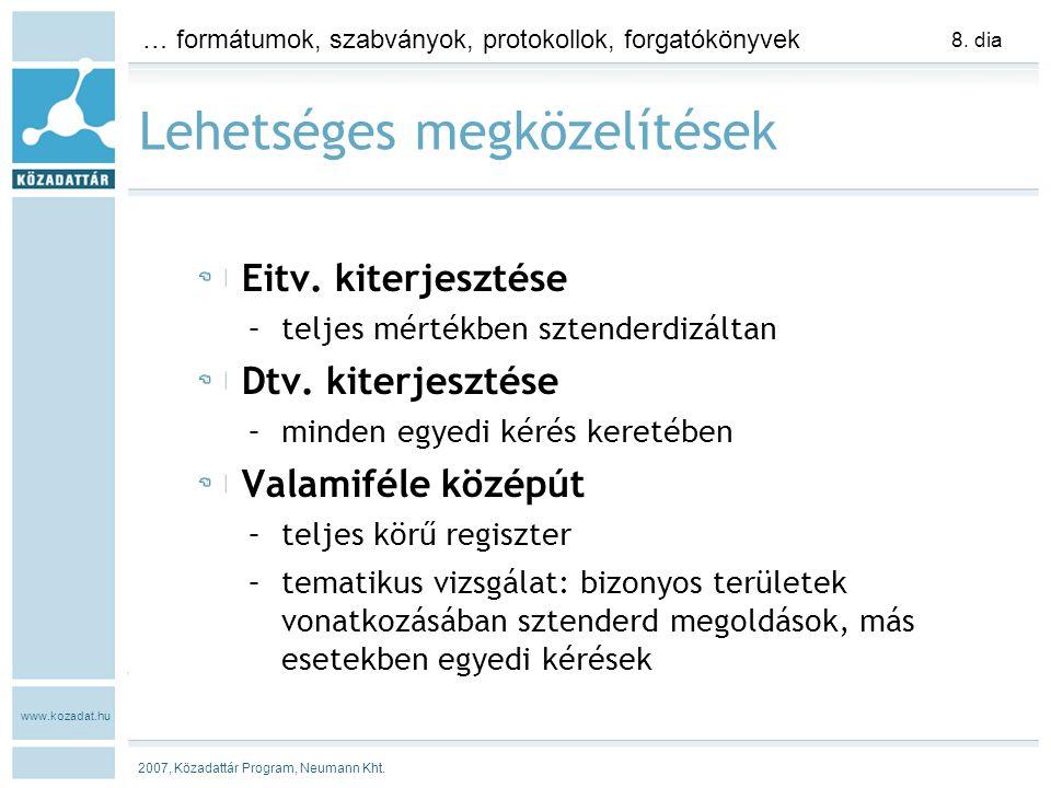 www.kozadat.hu … formátumok, szabványok, protokollok, forgatókönyvek 2007, Közadattár Program, Neumann Kht.