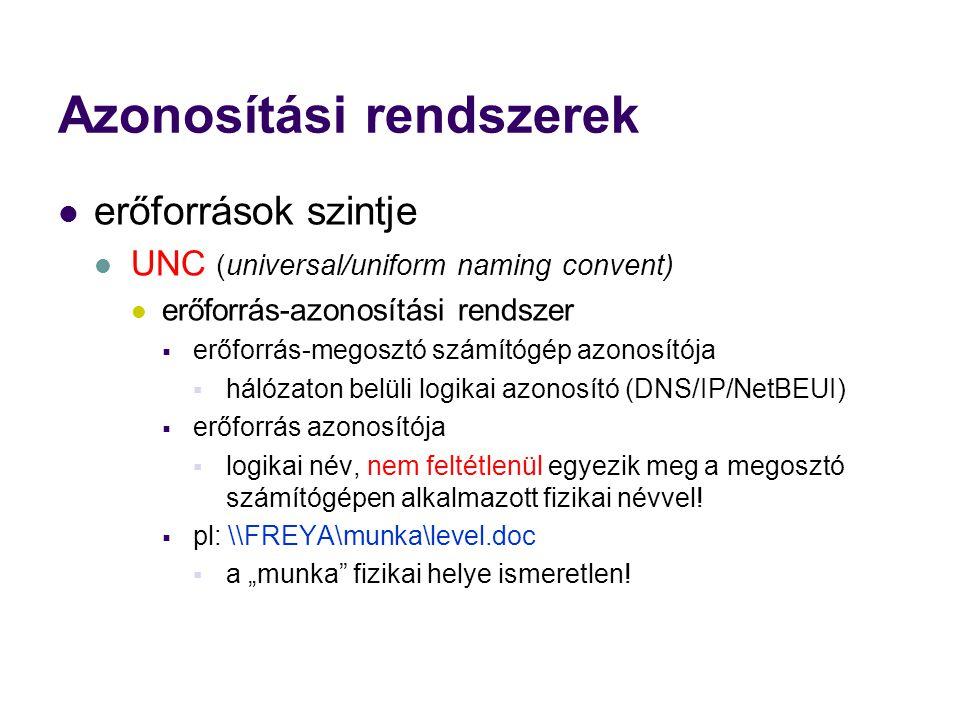 Azonosítási rendszerek erőforrások szintje UNC (universal/uniform naming convent) erőforrás-azonosítási rendszer  erőforrás-megosztó számítógép azonosítója  hálózaton belüli logikai azonosító (DNS/IP/NetBEUI)  erőforrás azonosítója  logikai név, nem feltétlenül egyezik meg a megosztó számítógépen alkalmazott fizikai névvel.