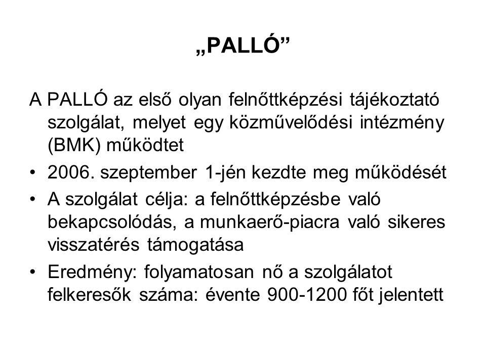 """""""PALLÓ A PALLÓ az első olyan felnőttképzési tájékoztató szolgálat, melyet egy közművelődési intézmény (BMK) működtet 2006."""