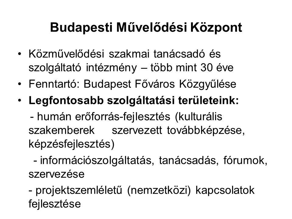 Budapesti Művelődési Központ Közművelődési szakmai tanácsadó és szolgáltató intézmény – több mint 30 éve Fenntartó: Budapest Főváros Közgyűlése Legfontosabb szolgáltatási területeink: - humán erőforrás-fejlesztés (kulturális szakemberek szervezett továbbképzése, képzésfejlesztés) - információszolgáltatás, tanácsadás, fórumok, szervezése - projektszemléletű (nemzetközi) kapcsolatok fejlesztése