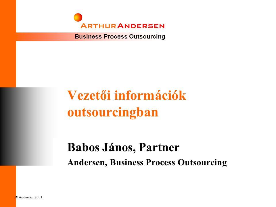 Business Process Outsourcing © Andersen 2001 Vezetői információk outsourcingban Babos János, Partner Andersen, Business Process Outsourcing
