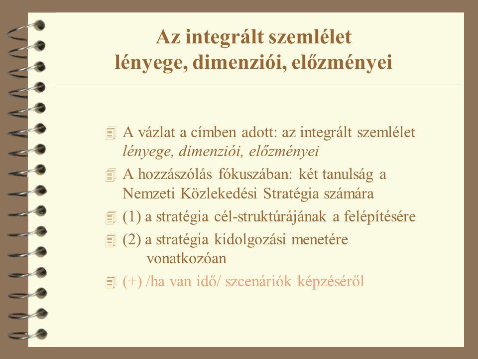 4 A vázlat a címben adott: az integrált szemlélet lényege, dimenziói, előzményei 4 A hozzászólás fókuszában: két tanulság a Nemzeti Közlekedési Stratégia számára 4 (1) a stratégia cél-struktúrájának a felépítésére 4 (2) a stratégia kidolgozási menetére vonatkozóan 4 (+) /ha van idő/ szcenáriók képzéséről Az integrált szemlélet lényege, dimenziói, előzményei