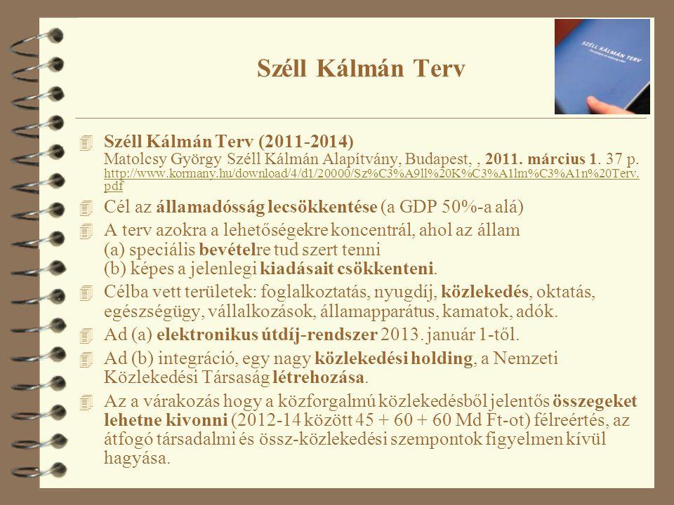 Széll Kálmán Terv 4 Széll Kálmán Terv (2011-2014) Matolcsy György Széll Kálmán Alapítvány, Budapest,, 2011.