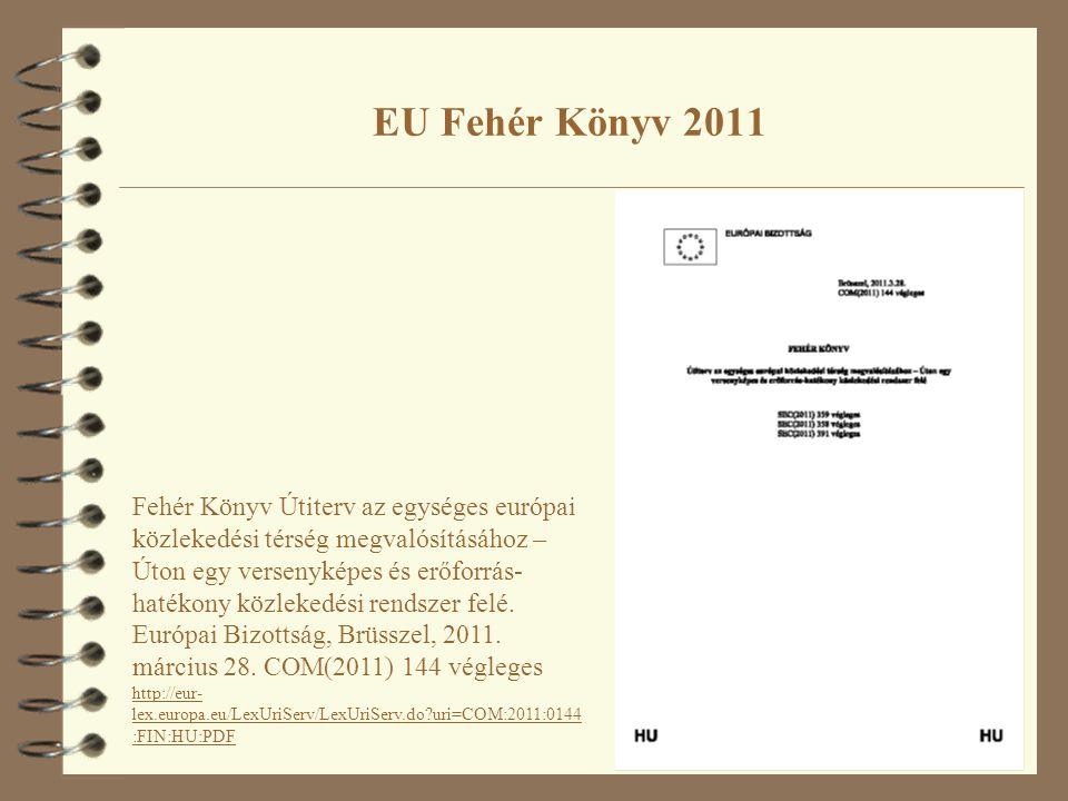 EU Fehér Könyv 2011 Fehér Könyv Útiterv az egységes európai közlekedési térség megvalósításához – Úton egy versenyképes és erőforrás- hatékony közlekedési rendszer felé.
