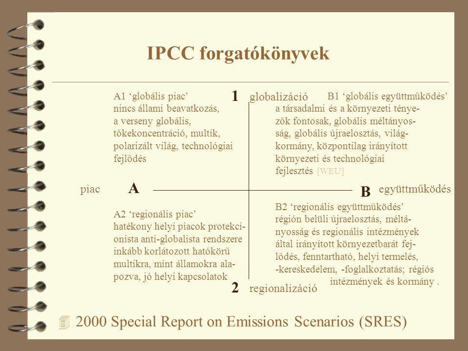 4 2000 Special Report on Emissions Scenarios (SRES) IPCC forgatókönyvek A B 1 2 piacegyüttműködés regionalizáció globalizáció A1 'globális piac' nincs állami beavatkozás, a verseny globális, tőkekoncentráció, multik, polarizált világ, technológiai fejlődés B1 'globális együttműködés' a társadalmi és a környezeti ténye- zők fontosak, globális méltányos- ság, globális újraelosztás, világ- kormány, központilag irányított környezeti és technológiai fejlesztés [WEU] A2 'regionális piac' hatékony helyi piacok protekci- onista anti-globalista rendszere inkább korlátozott hatókörű multikra, mint államokra ala- pozva, jó helyi kapcsolatok B2 'regionális együttműködés' régión belüli újraelosztás, méltá- nyosság és regionális intézmények által irányított környezetbarát fej- lődés, fenntartható, helyi termelés, -kereskedelem, -foglalkoztatás; régiós intézmények és kormány.