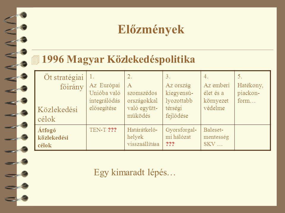 4 1996 Magyar Közlekedéspolitika Öt stratégiai főirány Közlekedési célok 1.