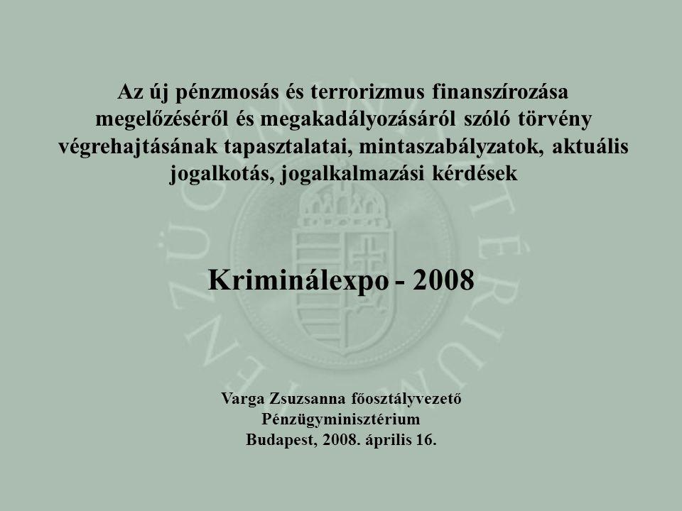 Az új pénzmosás és terrorizmus finanszírozása megelőzéséről és megakadályozásáról szóló törvény végrehajtásának tapasztalatai, mintaszabályzatok, aktu