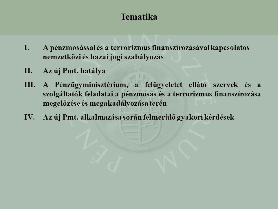 I.A pénzmosással és a terrorizmus finanszírozásával kapcsolatos nemzetközi és hazai jogi szabályozás II.Az új Pmt. hatálya III.A Pénzügyminisztérium,