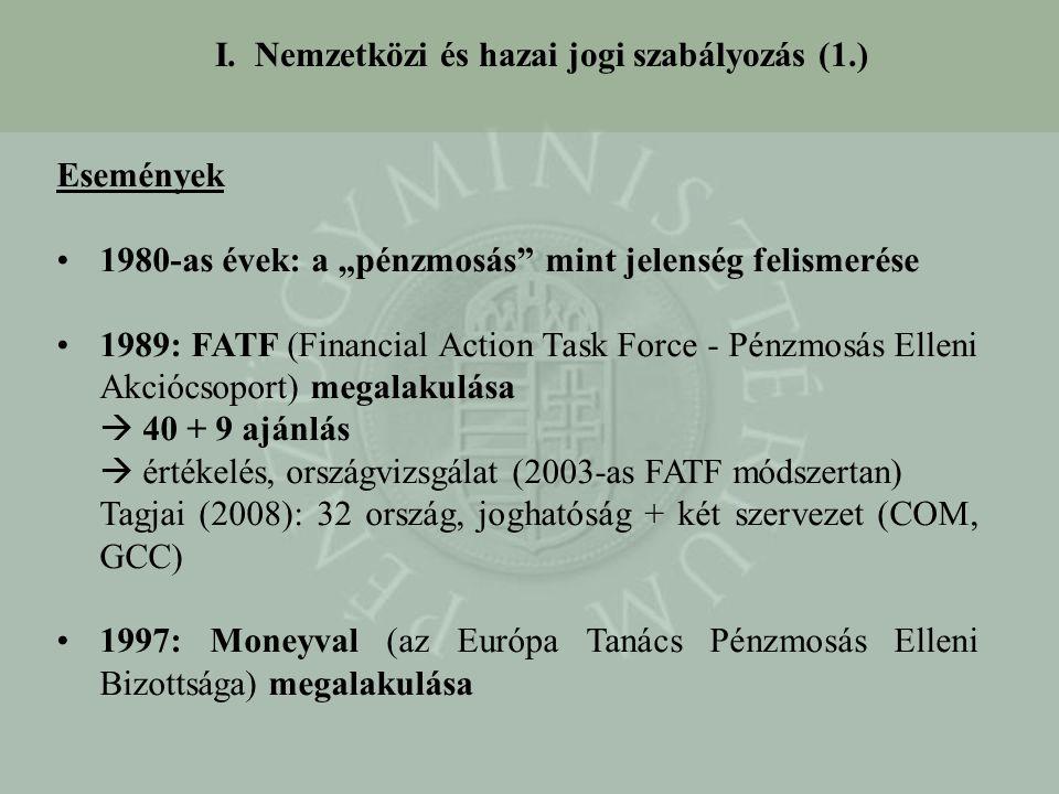 """I. Nemzetközi és hazai jogi szabályozás (1.) Események 1980-as évek: a """"pénzmosás"""" mint jelenség felismerése 1989: FATF (Financial Action Task Force -"""