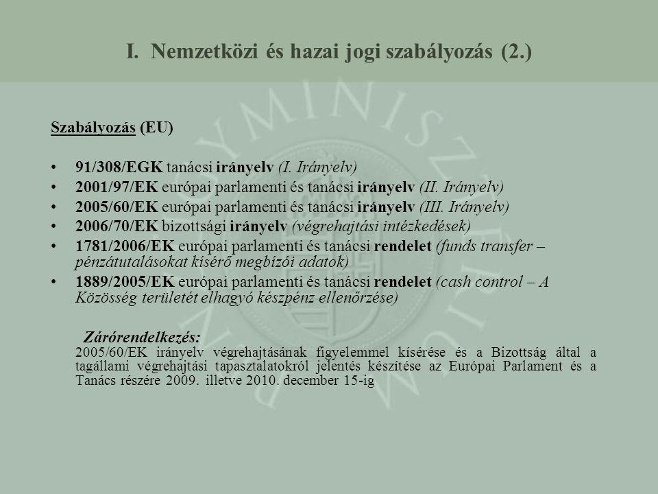 I. Nemzetközi és hazai jogi szabályozás (2.) Szabályozás (EU) 91/308/EGK tanácsi irányelv (I. Irányelv) 2001/97/EK európai parlamenti és tanácsi irány