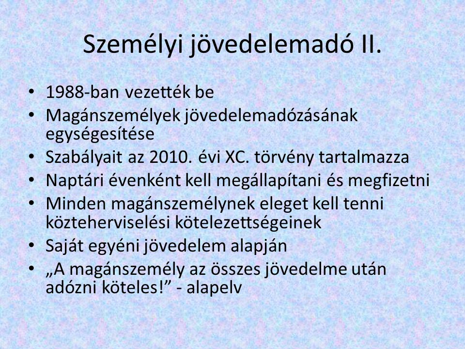 Személyi jövedelemadó III.