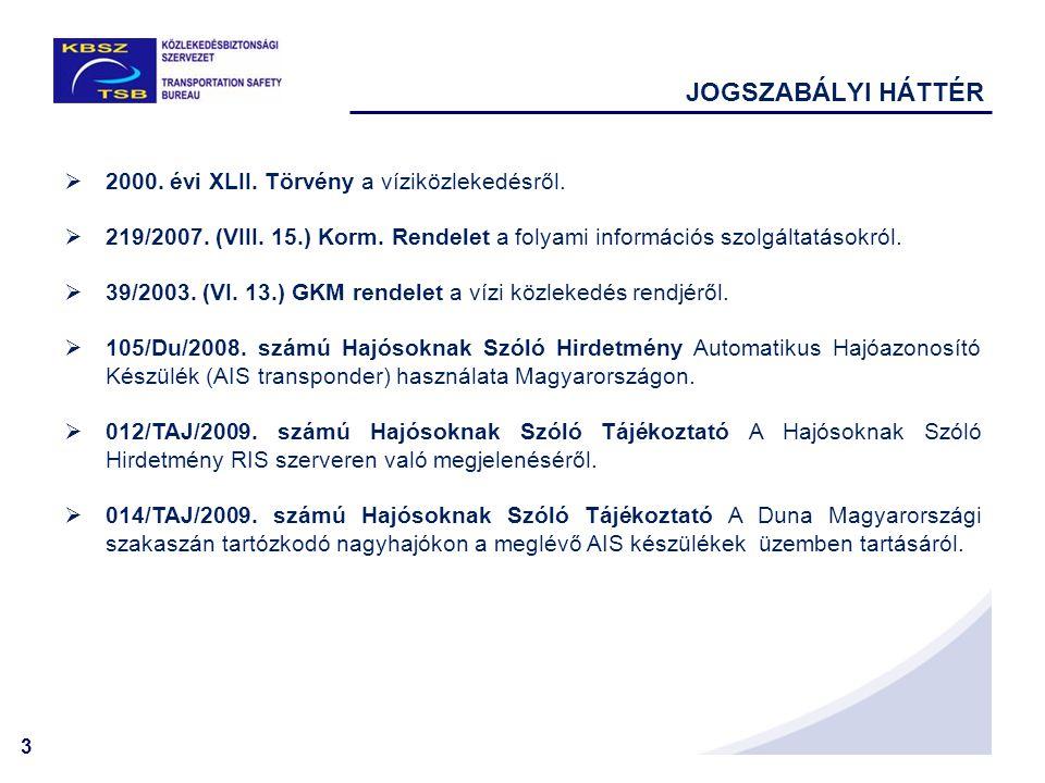 3  2000. évi XLII. Törvény a víziközlekedésről.  219/2007. (VIII. 15.) Korm. Rendelet a folyami információs szolgáltatásokról.  39/2003. (VI. 13.)