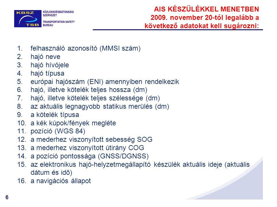 6 1.felhasználó azonosító (MMSI szám) 2.hajó neve 3.hajó hívójele 4.hajó típusa 5.európai hajószám (ENI) amennyiben rendelkezik 6.hajó, illetve kötelé
