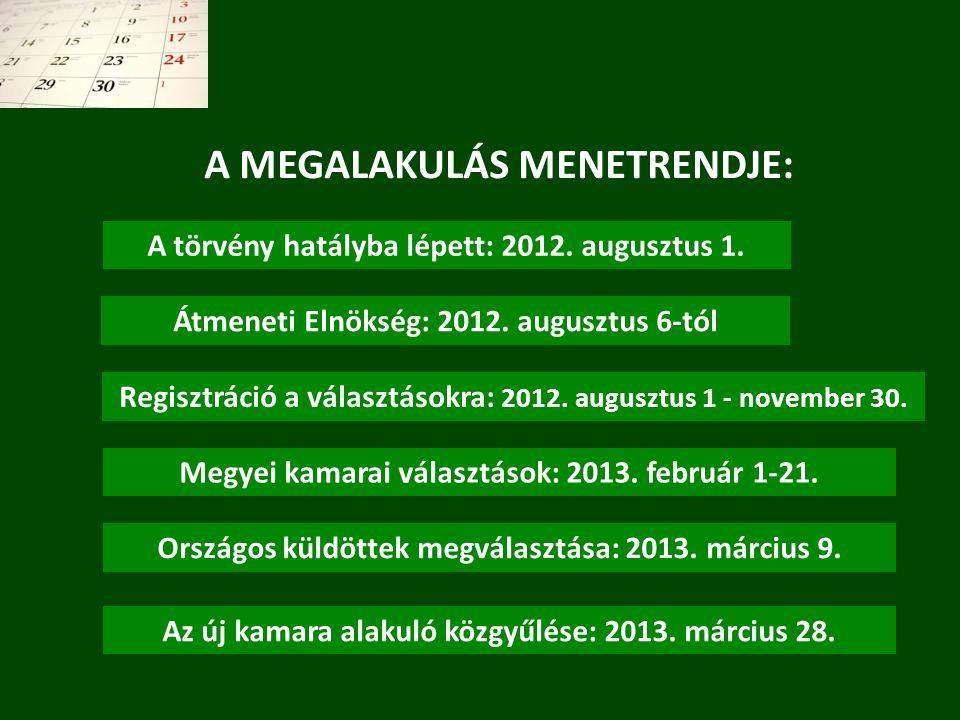A törvény hatályba lépett: 2012. augusztus 1. Regisztráció a választásokra: 2012. augusztus 1 - november 30. Átmeneti Elnökség: 2012. augusztus 6-tól