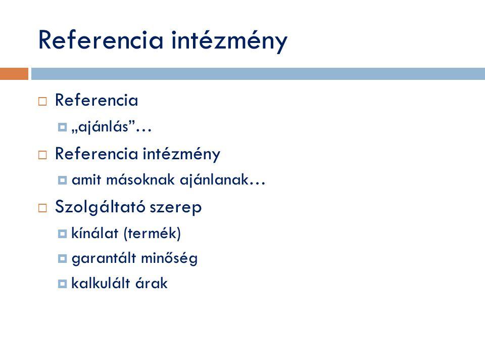 """Referencia intézmény  Referencia  """"ajánlás …  Referencia intézmény  amit másoknak ajánlanak…  Szolgáltató szerep  kínálat (termék)  garantált minőség  kalkulált árak"""