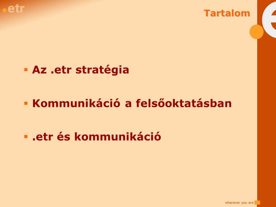  Az.etr stratégia  Kommunikáció a felsőoktatásban .etr és kommunikáció Tartalom